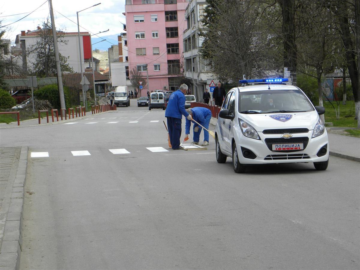 Хоризонтална сообраќајна сигнализација на улиците во градот